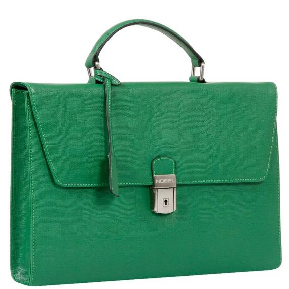 Деловая сумка-портфель в насыщенном оттенке зеленого, выполненная из натуральной кожи великолепной выделки