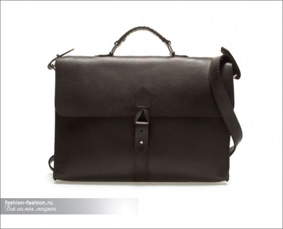Кожаный портфель с оплетенной ручкой
